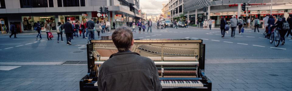 piano busker in Adelaide