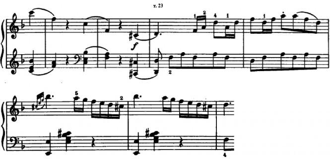 Соната F-dur В.А. Моцарта. Такты 21-27