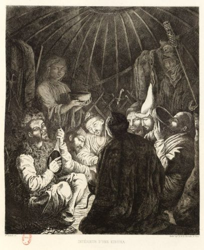 Офорт Б.Залесского: сказитель Мурзакай с шертером в юрте