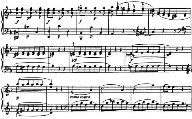 Моцарт. Соната F-dur. Конец разработки, начало репризы (тт. 120-136)